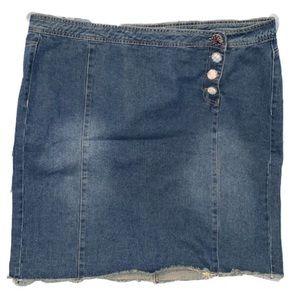 Tweed Button Denim midi plus size skirt in 18w